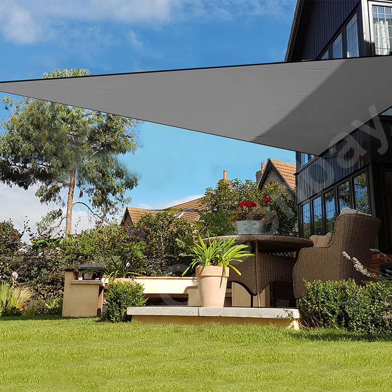 Green Bay Voile d'Ombrage 160g/m2 Jardin Patio Fête Toile Solaire 98% Résiste aux UV Triangle 3x3x3m Anthracite