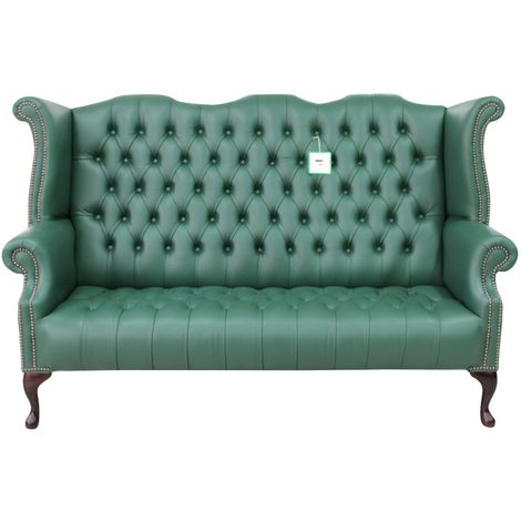Green Chesterfield 3 Seater High Back Wing sofa | DesignerSofas4U