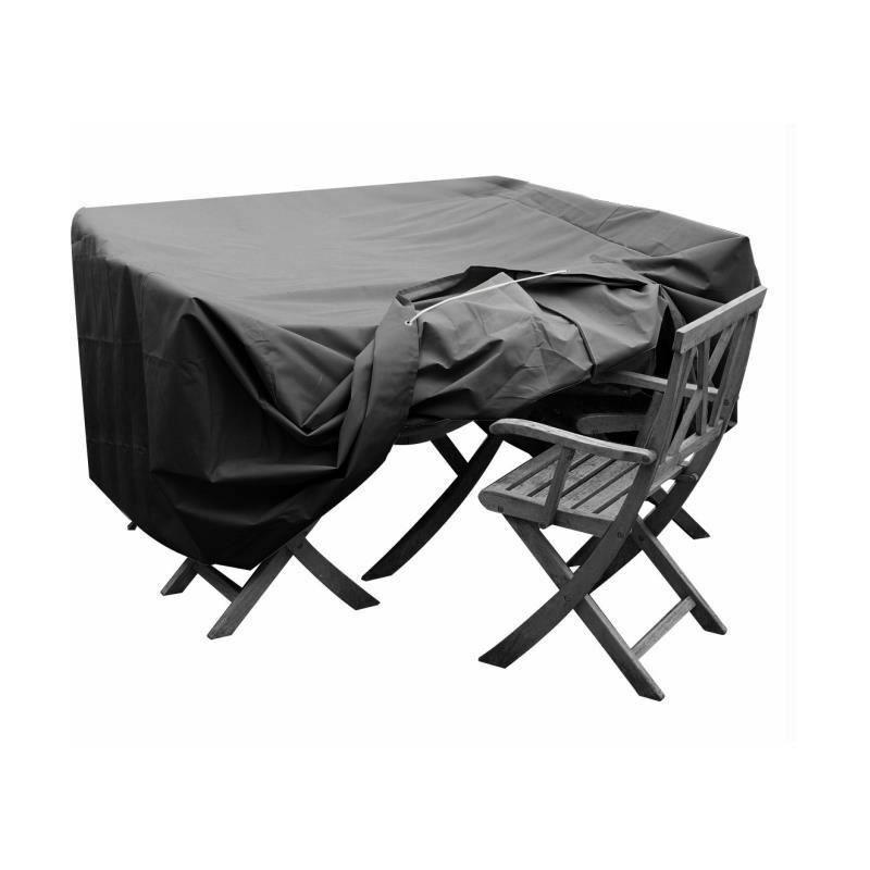 Housse de protection pour salon de jardin table + 4 chaises - 124x124x65 cm - Anthracite - Green Club