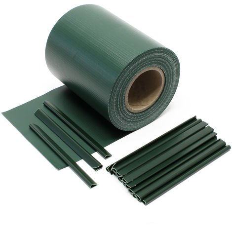 Green Garden Fence Roll 35 m x 19 cm, made of 650 g/m² PVC with 20 Clips