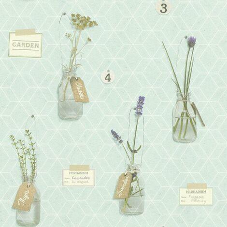 Green Geometric Wallpaper Jars And Herbs Delicate Design Matt Wall covering