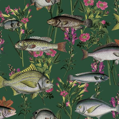Green Lagoon Wallpaper Holden Décor Fish Carp Floral Pink Orange