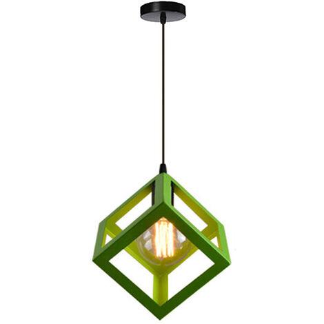 Green Modern Suspension Lighting Square Metal Ceiling Lamp Unique Geometric Cube Pendant Light E27 Restaurant Droplight for Loft Cafe Bar