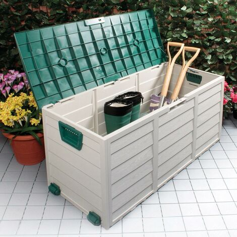 GREEN OUTDOOR GARDEN PLASTIC STORAGE SEAT UTILITY CHEST CUSHION SHED BOX TOOLS