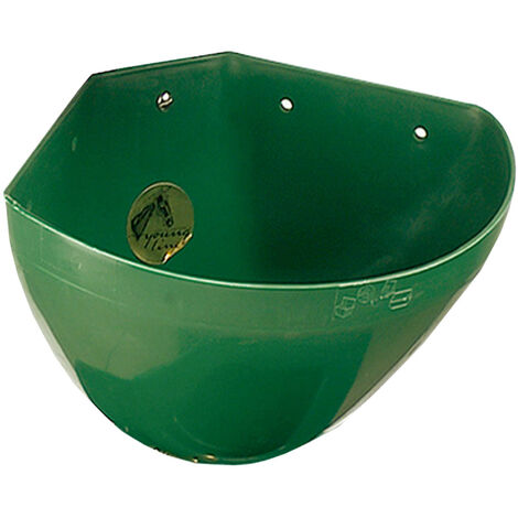 Green plastic round corner box feed trough for horses capacity 16 lt Ok Plast