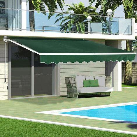 Green Retractable DIY Manual Patio Awning Canopy Garden Shade Shelter