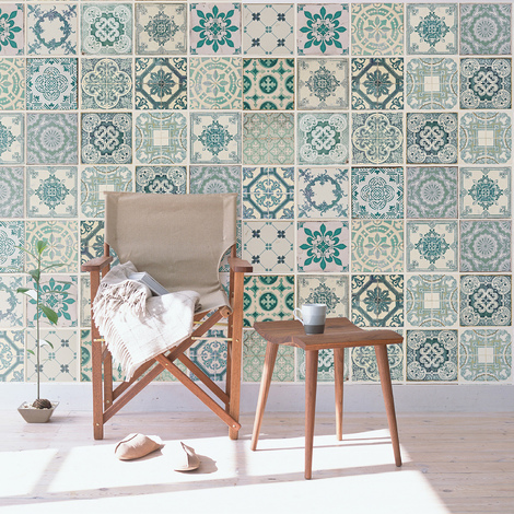 Green tiles Self-adhesive wall mural 216cm x 162cm