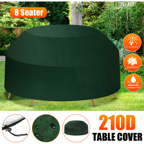 Green waterproof outdoor 6 seater round tablecloth home picnic table cover (green, 80x120 / 180cm (HxW))