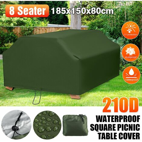 Green Waterproof Outdoor Square Tablecloth 8 Seater Home Picnic Table Cover (Green, 185x150x80cm (LxWxH))
