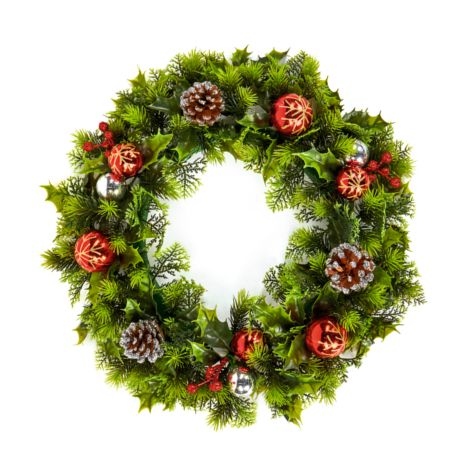 Green Wreath with Red Baubles and Cones - 45cm