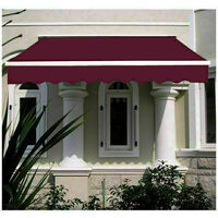 Greenbay 2 x 1.5m Manual Awning Garden Patio Canopy Sun Shade Shelter Retractable Wine Red