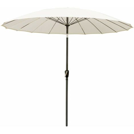 Greenbay 2.7m Fiberglass Rib Garden Parasol Round Aluminum Outdoor Umbrella with Crank Tilt Mechanism (Cream)