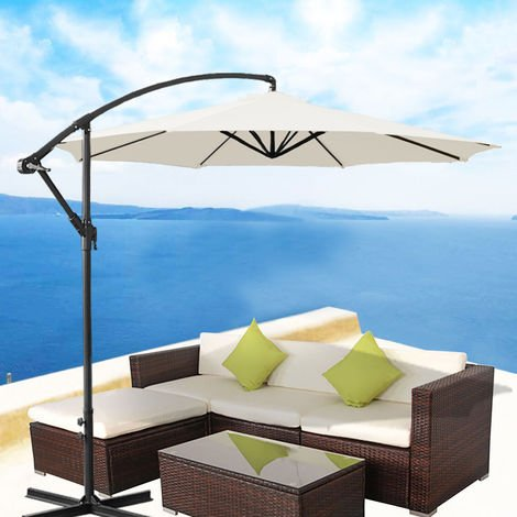 "main image of ""3M Garden Banana Parasol Sun Shade Patio Hanging Rattan Set Umbrella Cantilever"""