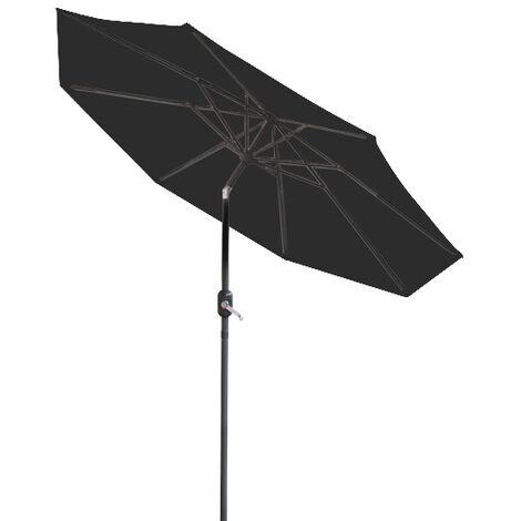 Greenbay 3m Round Parasol 8 Metal Ribs Construction Garden Furniture Parasol Outdoor Umbrella With Winding Crank & Tilt Function (Black)