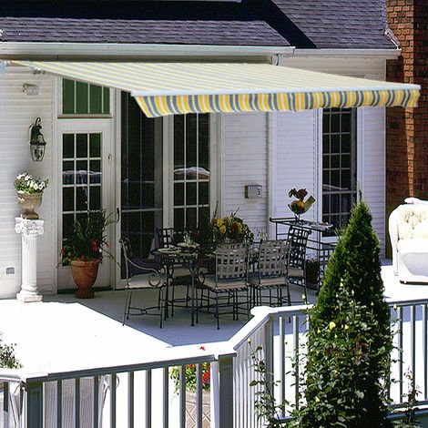 "main image of ""Greenbay 4 x 3m Manual Awning Garden Patio Canopy Sun Shade Shelter Retractable"""