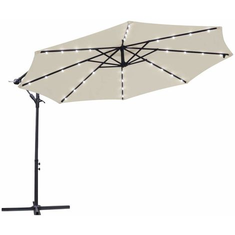 Greenbay Garden Banana Parasol Solar LED Lights 3m Sun Shade Shelter Crank Hanging Rattan Cantilever Outdoor Umbrella Cream