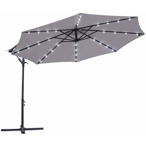 Greenbay Garden Banana Parasol Solar LED Lights 3m Sun Shade Shelter Crank Hanging Rattan Cantilever Outdoor Umbrella Grey