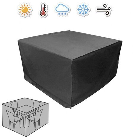 Greenbay Garden Furniture Cover for Patio Table Chairs Sofa Oxford Protective Dustproof Anti-UV Square Cover Black (126 x 126 x 74cm)
