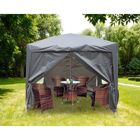 Greenbay Garden Pop Up Gazebo Party Tent Canopy With 4 Sidewalls and Carrying Bag 2.5x2.5M
