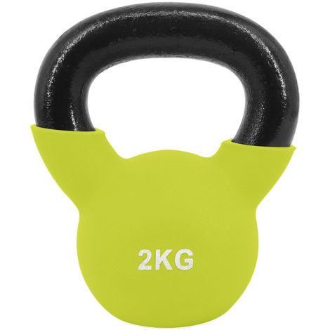 Greenbay KettleBells 2KG Yellow Cast Iron Neoprene Coated Kettlebell Home Gym Fitness Exercise Strength Training