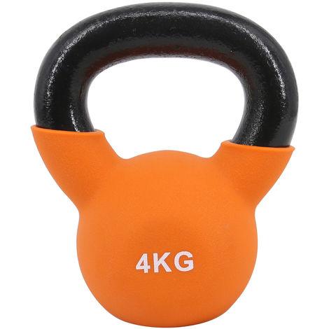 Greenbay KettleBells 4KG Orange Cast Iron Neoprene Coated Kettlebell Home Gym Fitness Exercise Strength Training
