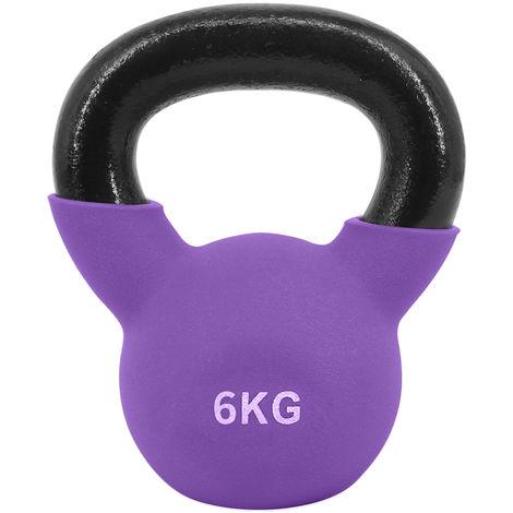 Greenbay KettleBells 6KG Purple Cast Iron Neoprene Coated Kettlebell Home Gym Fitness Exercise Strength Training