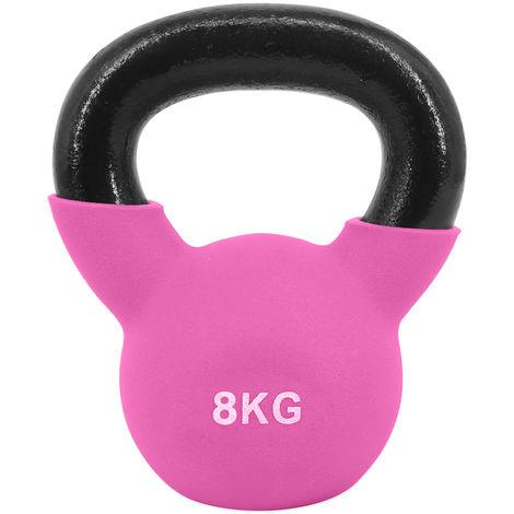 Greenbay KettleBells 8KG Pink Cast Iron Neoprene Coated Kettlebell Home Gym Fitness Exercise Strength Training