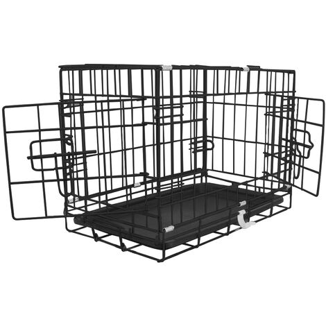 "Greenbay Pet Puppy Crate Folding Dog Training Travel Cage with Detachable Tray 18"" Black"