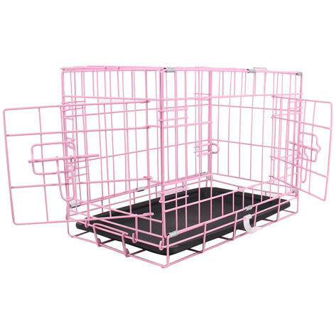 """Greenbay Pet Puppy Crate Folding Dog Training Travel Cage with Detachable Tray 18"""" Pink"""