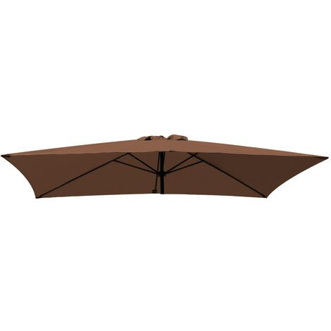 Greenbay Replacement Fabric Garden Parasol Canopy Cover for 3X2m 6 Arm Parasol - Coffee