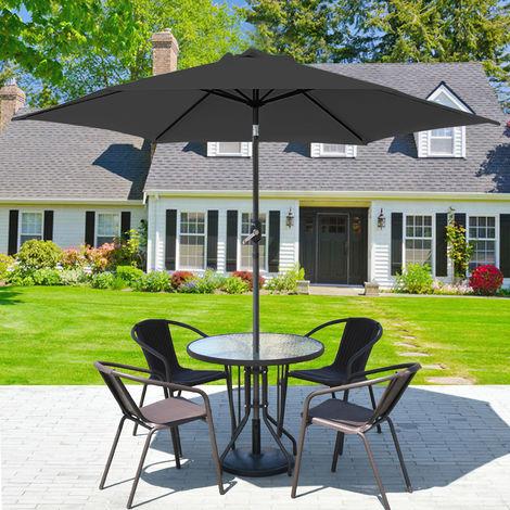 "main image of ""2.5M 2.7M 3M Round Garden Parasol Sun Shade Outdoor Patio Umbrella W/ Crank Tilt"""