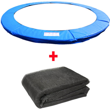 Greenbay Trampoline Replacement Spring Cover Padding Pad & Safety Net Enclosure Surround Bundle Blue
