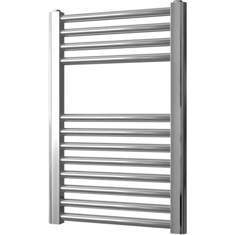 Greened House 400mm wide x 600mm high Chrome Flat Central Heating Towel Rail Designer Straight Towel radiator
