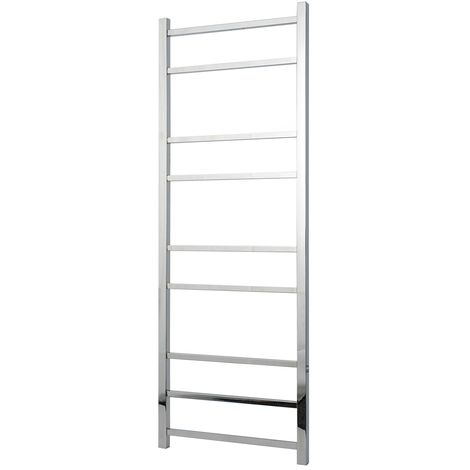 Greened House Cumbria Designer Square Tube Electric Wall Mounted Towel Rail Stainless Steel (600mm Wide x 1400mm High)