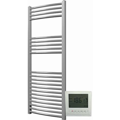 """main image of """"Greened House Electric Chrome Curved Towel Rail + Timer and Room Thermostat Bathroom Towel Rails"""""""