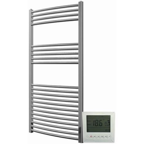 Greened House Electric Chrome Curved Towel Rail + Timer and Room Thermostat Bathroom Towel Rails