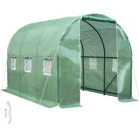 Greenhouse foil tunnel - polytunnel, walk in greenhouse, garden greenhouse - verde