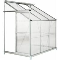 Greenhouse lean-to with foundation - lean to greenhouse, greenhouse plastic, polycarbonate greenhouse - transparent