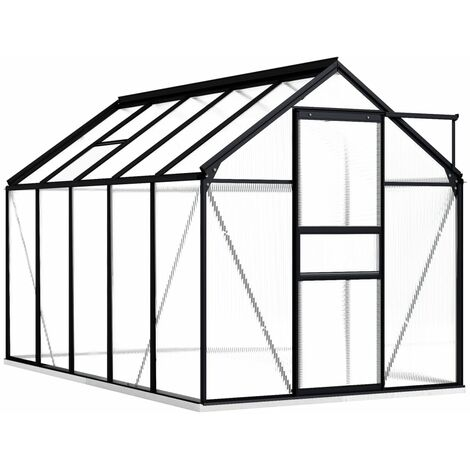 Greenhouse with Base Frame Anthracite Aluminium 5.89 m²