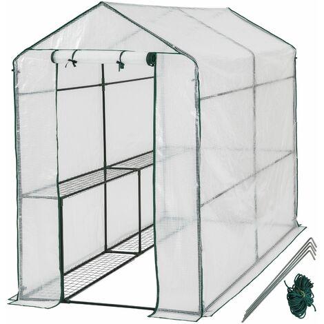 Greenhouse with tarpaulin - small greenhouse, walk in greenhouse, garden greenhouse - white