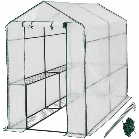 Greenhouse with tarpaulin - small greenhouse, walk in greenhouse, garden greenhouse - white
