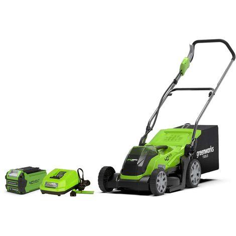 Mower GREENWORKS 40V - Cut of 35cm - 1 battery 2,0Ah - 1 charger - G40LM35K2