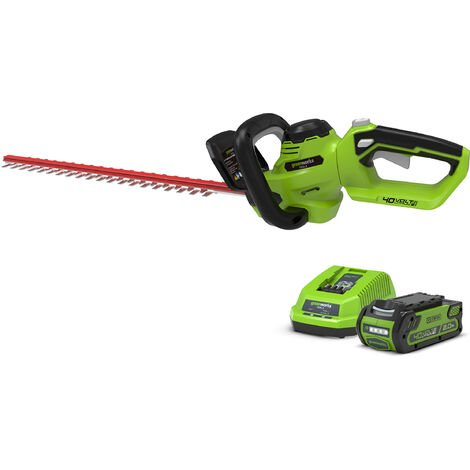 Greenworks G40HT61K2 Cordless 40v Hedge Trimmer 61cm/24in with Battery