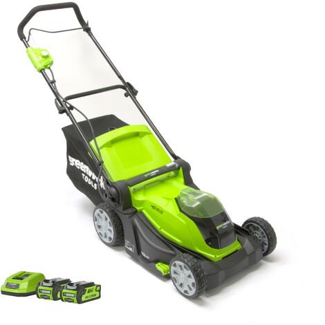 Greenworks G40LM41 40v Cordless Lawn Mower with Optional Kit