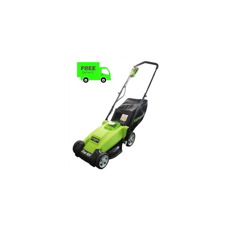 Greenworks GWG40LM35K2 35cm Cordless Lawnmower, 2Ah Li Battery and Charger