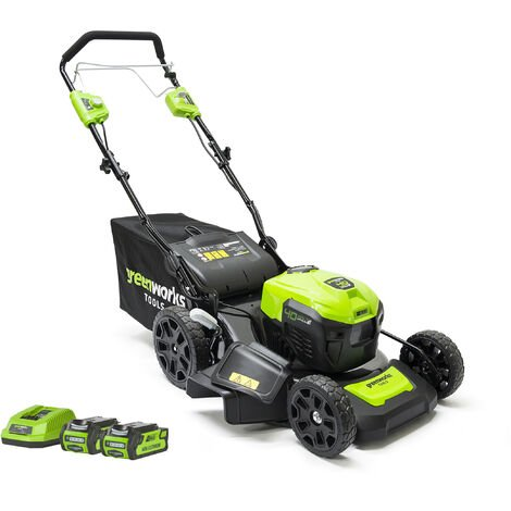 Greenworks GD40LM46SPK2X Cordless 40v Self Propelled Lawn Mower 46cm with 2x Batts