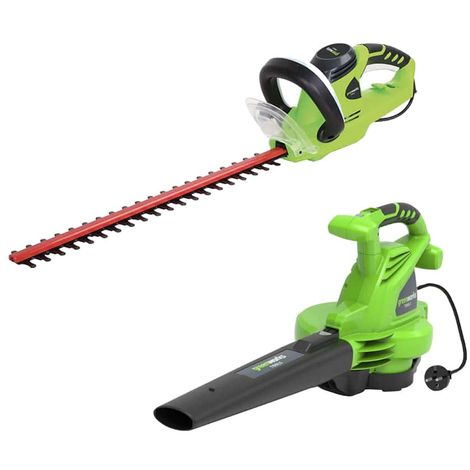 GREENWORKS Pack Electric Blower 2800W GBV2800 - Electric Hedge Trimmer 56 cm 500W GHT5056