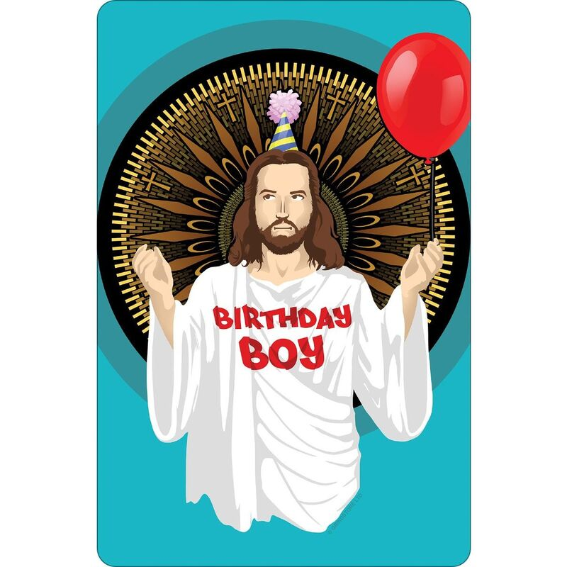 Image of Birthday Boy Christmas Plaque (One Size) (Azure Blue/Brown/Red) - Greet Tin Card