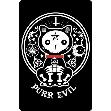 Greet Tin Card Dead Kitty Plaque (One Size) (Black/White)