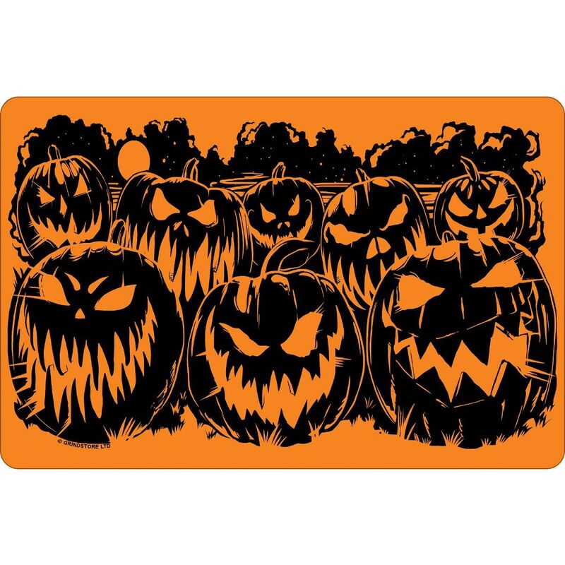 Image of Evil Pumpkins Halloween Plaque (One Size) (Orange/Black) - Greet Tin Card
